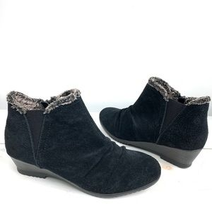 SPORTO suede faux fur lined wedge booties 9.0 BLK
